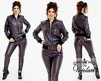Стильная куртка кожа стёганая + ребана+ подкладка
