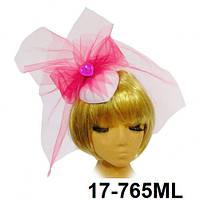 """Белая шляпка """"Pinky"""" с малиновой вуалью"""