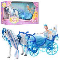 Карета 223A 33 см, свет, лошадь 25 см, (звук, ходит), кукла 28 см, на батарейке, в коробке