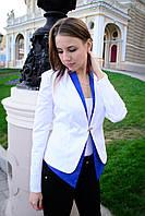 Пиджак женский двухцветный на одной застежке - Белый