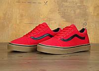 """Кеды Vans Old Skool """"Red Black Gum"""" - """"Красные Черные Коричневые"""" (Копия ААА+), фото 1"""