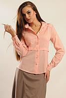 Деловая блузка-рубашка классическая Розовый