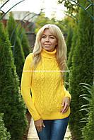 Свитер женский вязаный шерстяной  под горло цвет Желтый