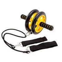 Ролик гимнастический двойной с эспандерами AB Wheel D200mm