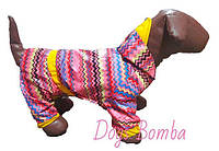 "Дождевик комбинезон для собак ""Кардиограмма розовая""  M-20"