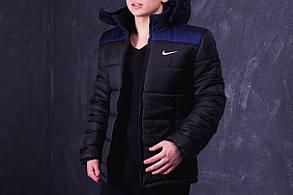 Куртка Nike Black&blue (Найк) PROMO, черная с темно-синими плечами