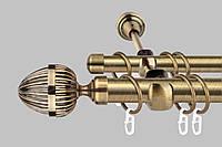 Карниз для штор двухрядный металлический 25 мм, Одеон (комплект)