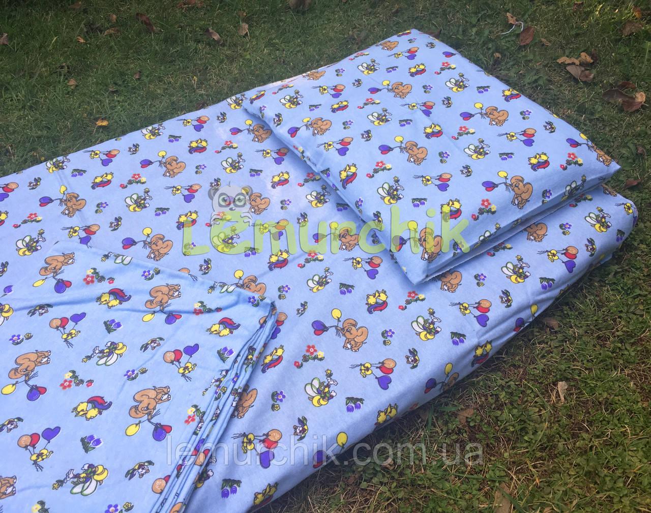 Постельный набор в детскую кроватку байковый (3 предмета), Слоники голубой