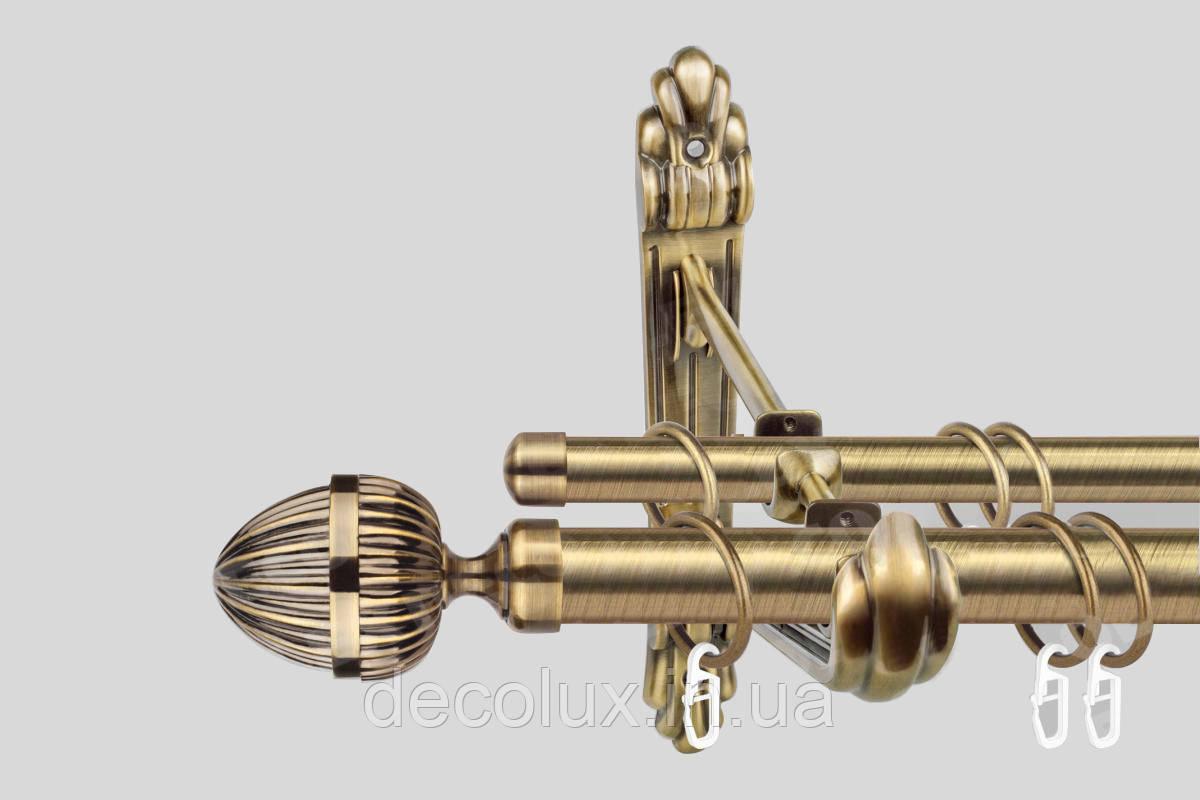 Карниз для штор двухрядный металлический 25 мм, Одеон (комплект) РЕТРО