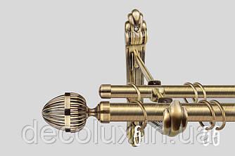 Карниз для штор двухрядный металлический 25 мм, Одеон РЕТРО