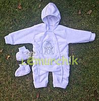 Комплект для новорожденного (человечек+пинетки) махра белый, 68р.