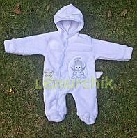 Человечек для новорожденного махра белый, 62р.