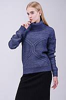 Теплый женский свитер с высокой горловиной