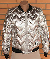 Куртка зеркальная тонкий синтепон, серебро и бронза. Код-19