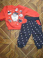 Детский теплый зимний костюм 3-х нитка  с начесом Пингвинчик  для девочки 68,74, 80 , 86 см Турция