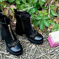 Женские зимние ботинки натуральная кожа с камнями