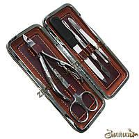 Маникюрный набор Мастер 0100, футляр из кожзаменителя(РАЗНЫЕ ЦВЕТА) 14,5x6,5 см, в наборе 5 предметов: кусачки