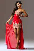 Красное мини платье со съемным шлейфом