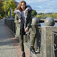 Парка с натуральным мехом чернобурки
