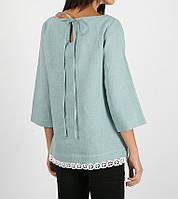 Льняная блуза с хлопковым кружевом, фото 1