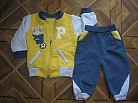 Детский зимний костюмчик 3-х нитка Мишка футболист  для маленького мальчика 68,74,80,86 см  Турция