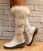 Сапоги кожаные белые с мехом