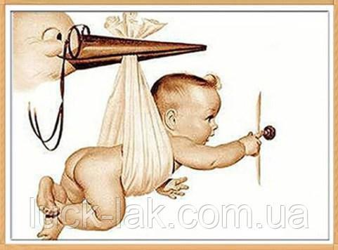 Алмазная вышивка, младенец 40х30 см, частичная выкладка