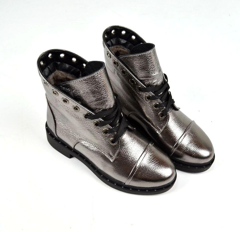 d5cf6662 Женские зимние ботинки серебро натуральная кожа - ГЛЯНЕЦ | Интернет-магазин  КОЖАНОЙ обуви с фабрик