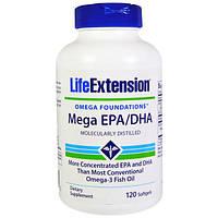 Омега-3 Meгa EPA/DHA  с вит. Е 120 капс для сердца сосудов защита от инфаркта атеросклероза Life Extension USA