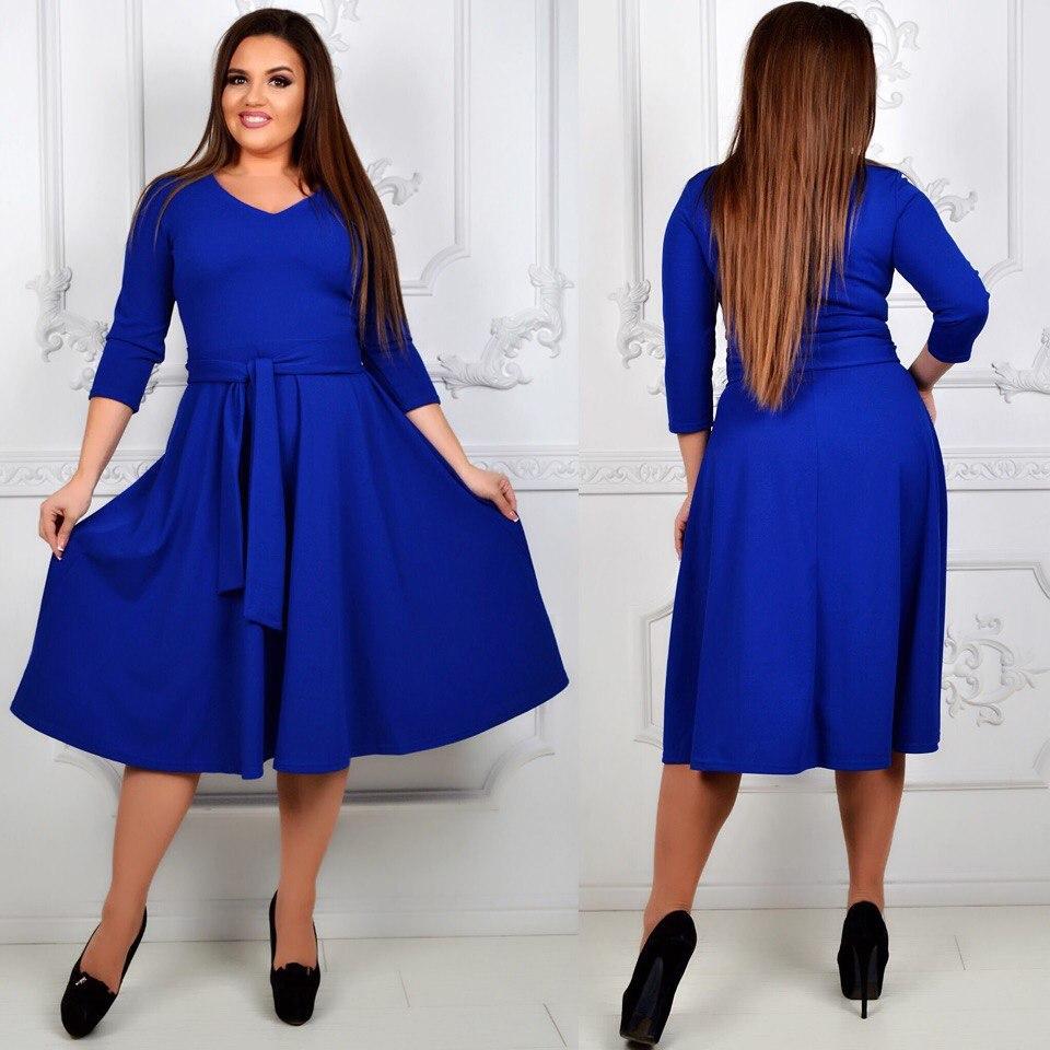 85b7bccb2de Женское платье-клеш больших размеров -