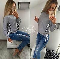 Модная новинка! Женский свитер кофточка со шнуровкой серая 42-44-46, фото 1