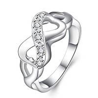"""Кольцо Бесконечность Tiffany """"Loving Hearts"""" с цирконами (16.5 17.3 18.2 19.0 20.0 размеры в наличии)"""