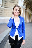 Пиджак женский двухцветный на одной застежке - Синий