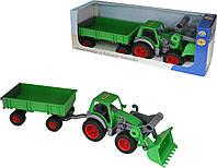 Фермер-техник, трактор-погрузчик с прицепом (в коробке), Полесье