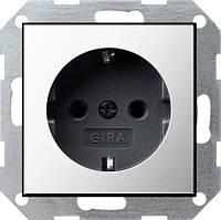 Розетка с заземлением GIRA System 55 хром/чёрный - 0188605