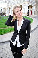 Пиджак женский двухцветный на одной застежке - Черный
