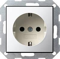 Розетка с заземлением GIRA System 55 хром/кремовый - 0188615