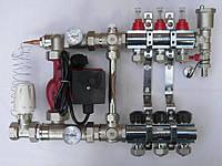 Коллектор для теплого пола Fado на 6 контуров в сборе с насосом хромированный