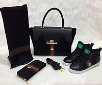 Набор GUCCI:сумочка,туфли,кошелек черный