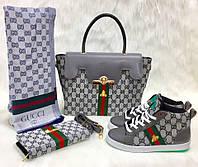 Набор GUCCI:сумочка,туфли,кошелек серебро