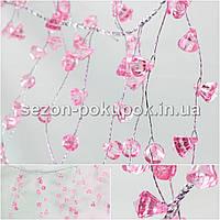 (110см) Веточка с кристаллами на проволоке (≈46веточек,184 кристаллов) Цвет - Нежно розовый