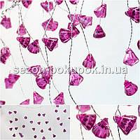(110см) Веточка с кристаллами на проволоке (≈46веточек,184 кристаллов) Цвет - БУРГУНДИ