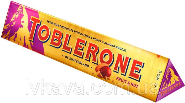 Молочный  шоколад Toblerone  c изюмом, нугой из меда и миндаля , 100 гр, фото 2
