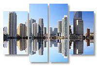 Модульная картина белые здания над водой