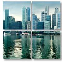 Модульная картина здания и вода 3д