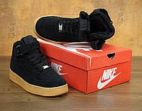 """Зимние мужские кроссовки с мехом Nike Air Force  """"Черные"""" р. 40-46, фото 1"""