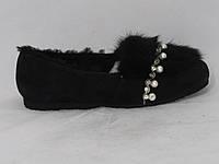 Туфли женские зимние на меху UGG_081-17003_Black черная замша