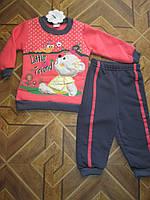 Детский теплый костюмчик 3-х нитка с начесом  для  девочки  1-3 года Турция