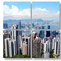 Модульная картина здания и холмы
