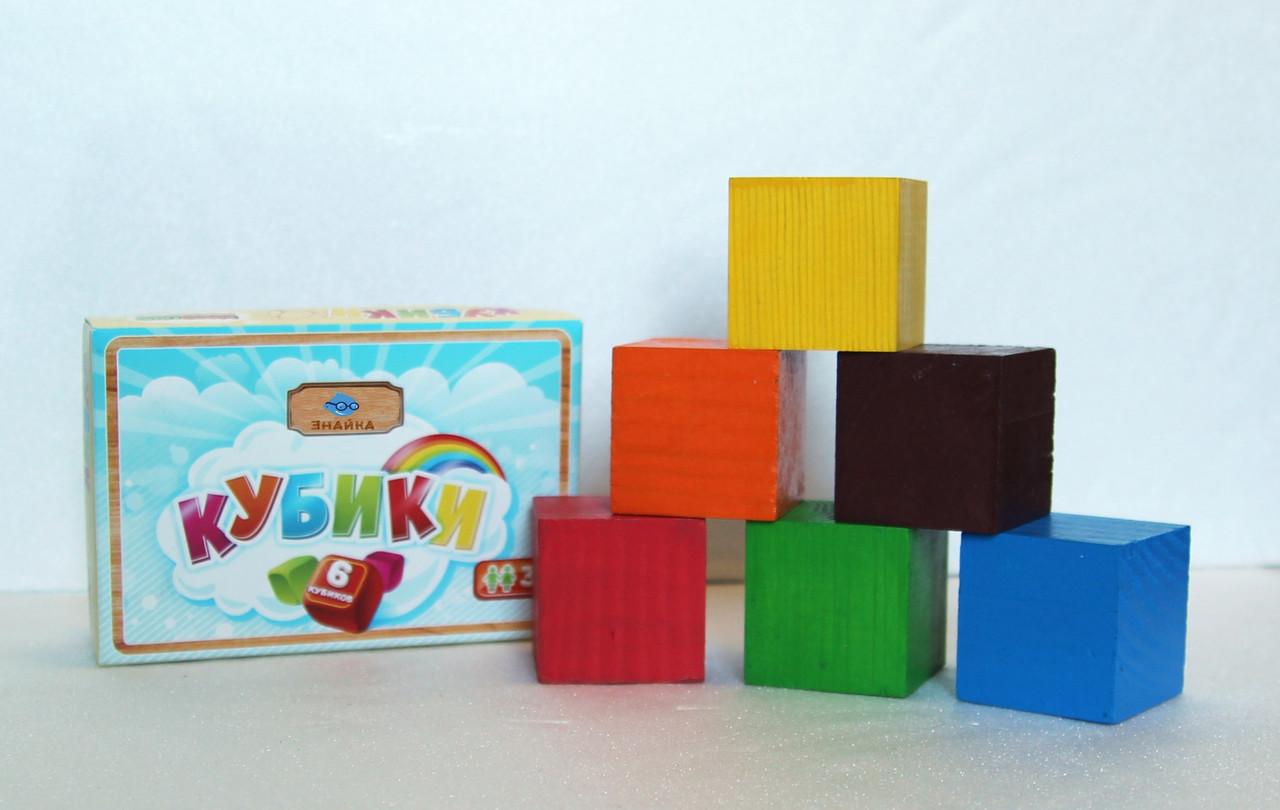 Кубики деревянные цветные, ассорти цветов, 6 шт